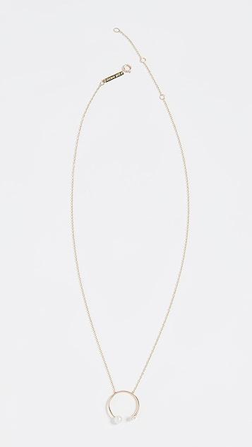 Zoe Chicco 14K 金淡水养殖珍珠镂空圆形项链