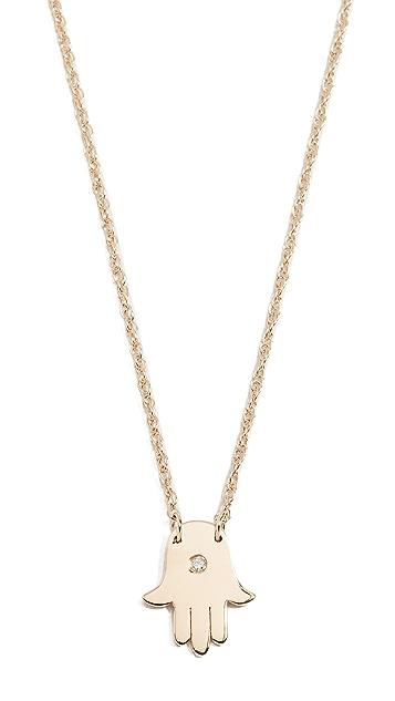 Jennifer Zeuner Jewelry 迷你 Hamsa 钻石项链