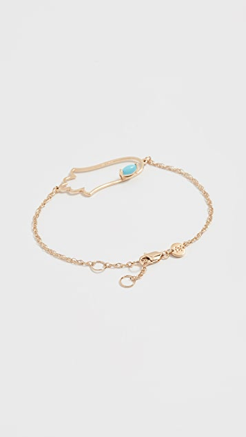 Jennifer Zeuner Jewelry Hamsa 带绿松石镂空手链