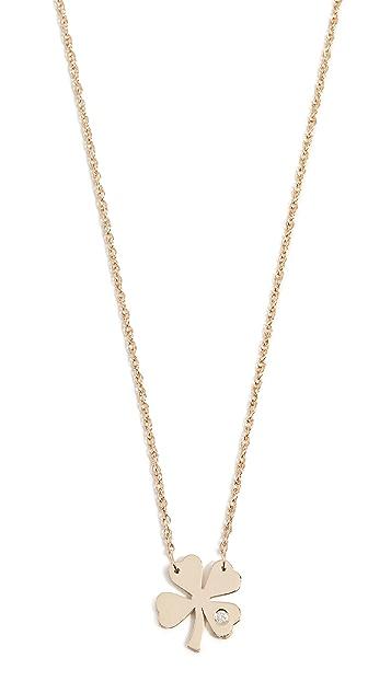 Jennifer Zeuner Jewelry 带钻石的四叶草项链