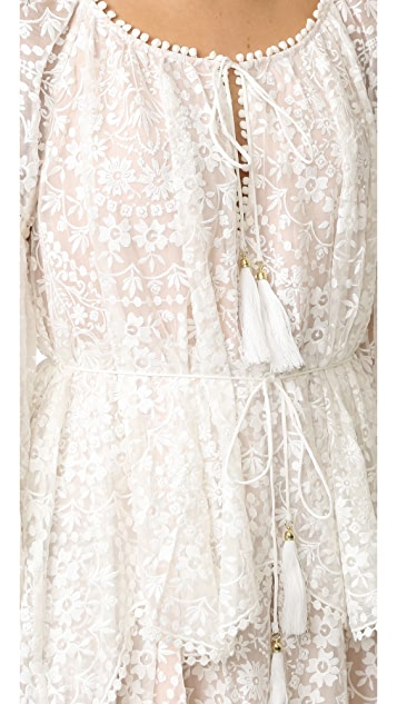 Zimmermann Gossamer 扇形饰边短连衣裙