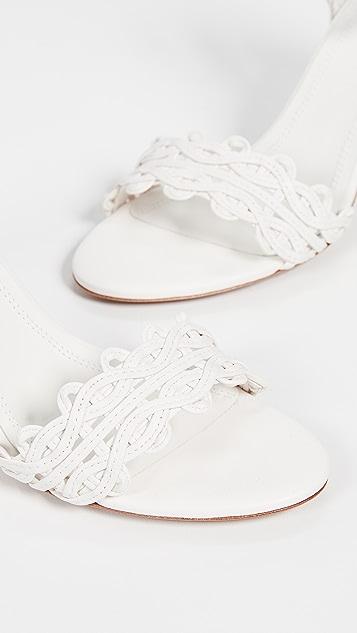 Zimmermann 波纹格子网眼鞋跟凉鞋