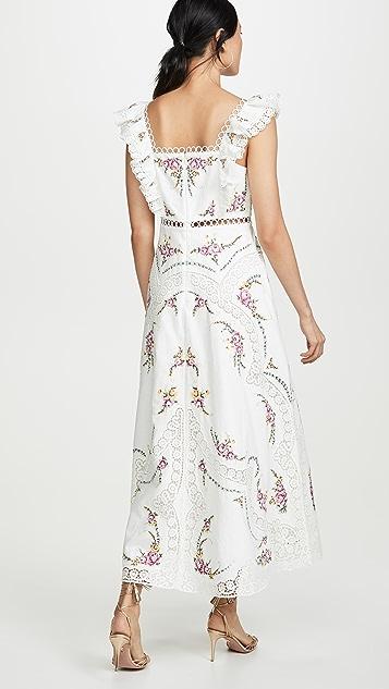 Zimmermann Allia 交叉缝线长连衣裙
