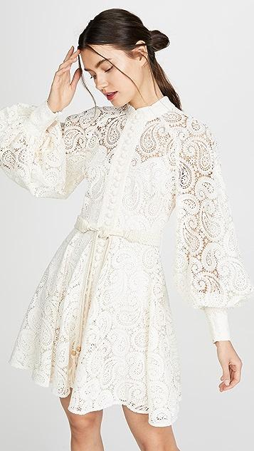 Zimmermann Amari 腰果花蕾丝短连衣裙