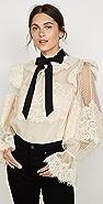Zimmermann Espionage 系绳扣蕾丝女式衬衫