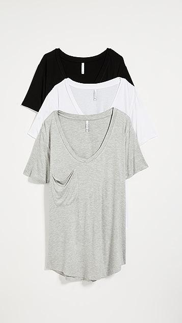 Z Supply 时尚平针织口袋 T 恤 3 件装