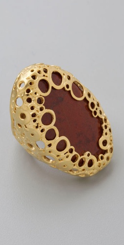Alexis Bittar Red Jasper Oval Klimt Ring
