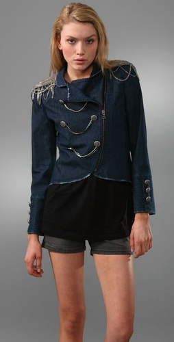 Alice + Olivia Debbie Denim Military Jacket