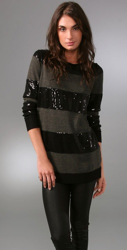 Alice   Olivia Evan Sequin Striped Sweate
