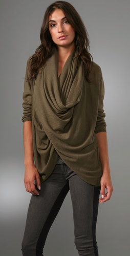 Alice   Olivia Drape Wrap Around Sweater