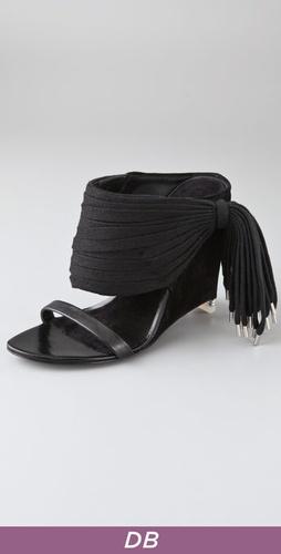 Alexander Wang Eliza Suede Wedge Sandals with Tassel