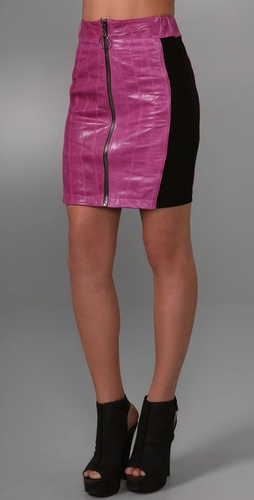 Barlow Body Con Leather Skirt