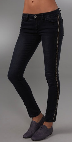 Blank Denim Skinny Jeans With Chain Detai