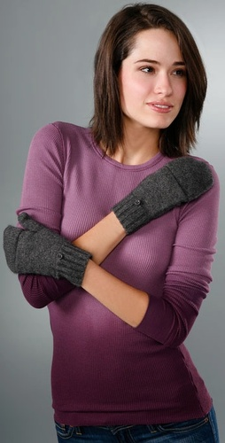 Bop Basics Cashmere Fingerless Gloves Wit