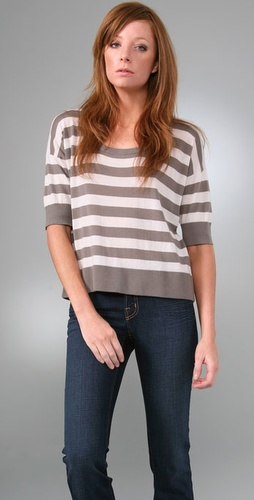 Bop Basics Cashmere Stripe Button Back Sw