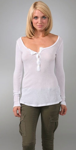 C&c California Scoop Neck Henley Top