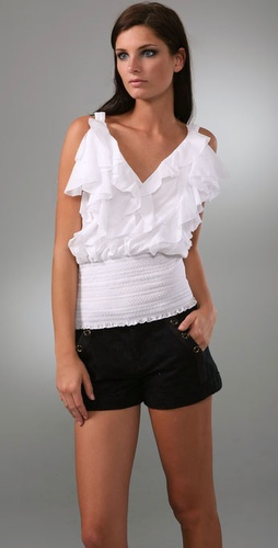 Catherine Malandrino Ruffle Top With Smoc