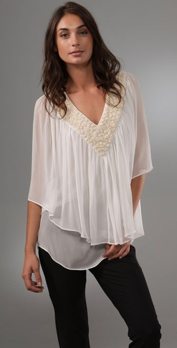 Catherine Malandrino V Neck Tiered Blouse