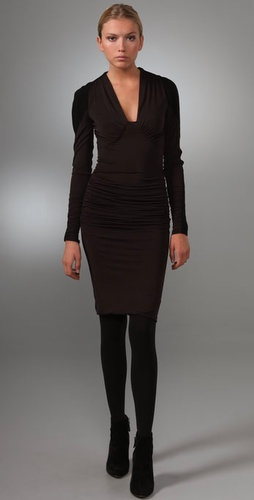 Derek Lam Gathered Long Sleeve Dress
