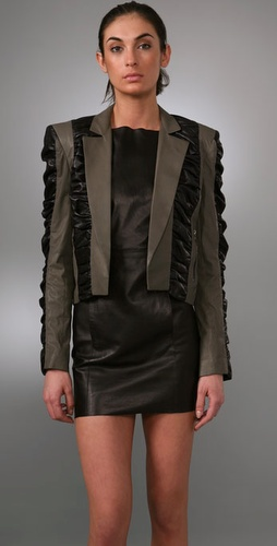 Elise Overland Leather Bolero With Ruched