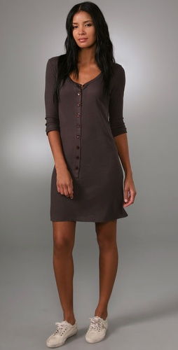 Enza Costa Rib 3/4 Henley Mini Dress