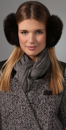 Eugenia Kim Janine Tweed & Fur Earmuffs