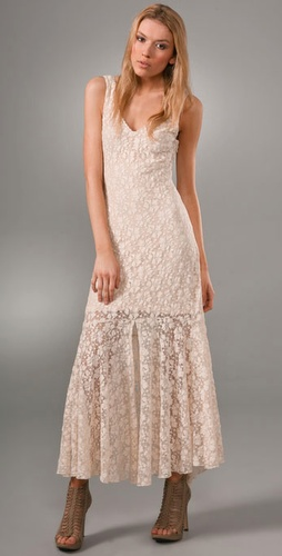 Haute Hippie Long Vintage Lace Dress