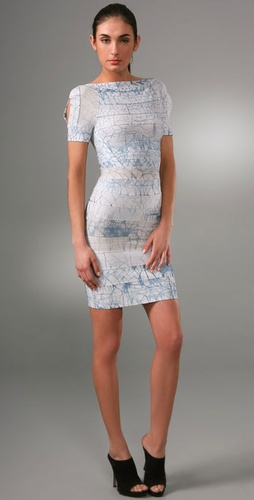 Herve Leger Indigo Batik Short Sleeve Cocktail Dress