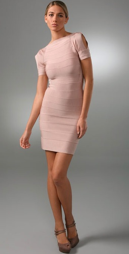 Herve Leger Signature Essentials Short Sleeve Cocktail Dress