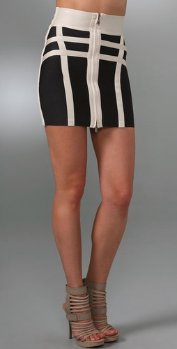 Herve Leger Colorblock Pencil Miniskirt