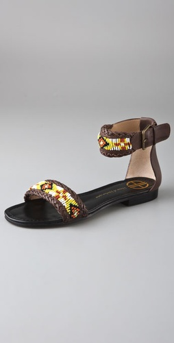 House of Harlow 1960 Saloni Beaded Flat Sandals