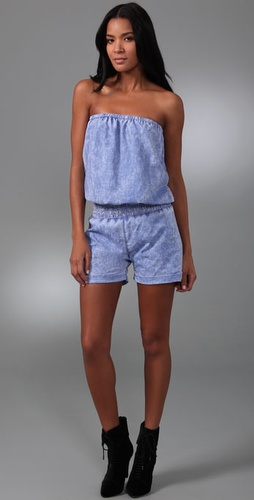 Monrow Distressed Strapless Romper