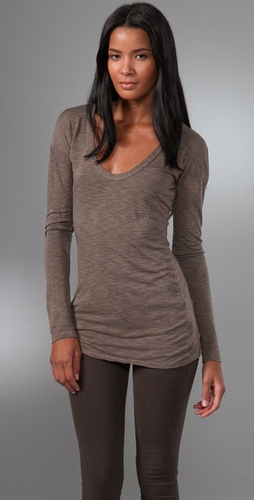James Perse Long Sleeve Scoop Neck Tee