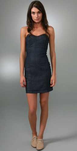 Juicy Couture Fitted Denim Strapless Dres
