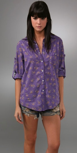 Kettle Black Floral Boyfriend Shirt