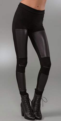 Kill City Zipper Leggings With Faux Leath