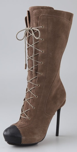 L.A.M.B Prudence Suede Lace Up Boots