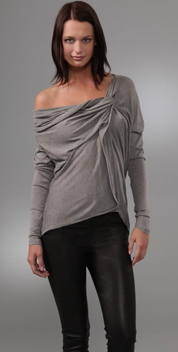 L.A.M.B Long Sleeve Top with Drape Detail
