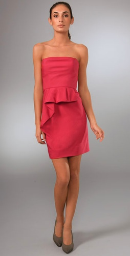 Lela Rose Strapless Cowl Dress With Drape