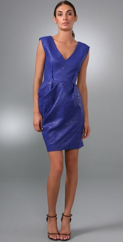 Lela Rose V Neck Seamed Sheath Dress