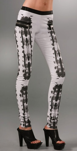 Les Chiffoniers Print Zip Leather Leggings