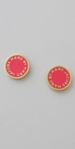 Marc by Marc Jacobs Enamel Discs Logo Stud Earrings