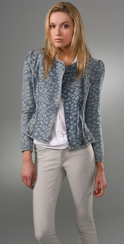 McQ - Alexander McQueen Lurex Denim Biker Jacket from shopbop.com