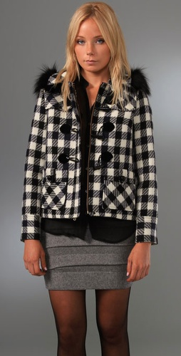 Milly Fox Collar Plaid Duffle Jacket