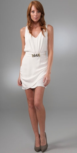 Madison Marcus Gilt V Neck Dress With Bel