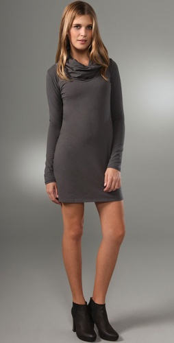 Majestic Long Sleeve Cowl Neck Dress