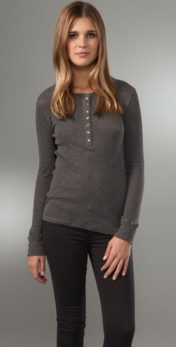 Majestic Long Sleeve Henley Top