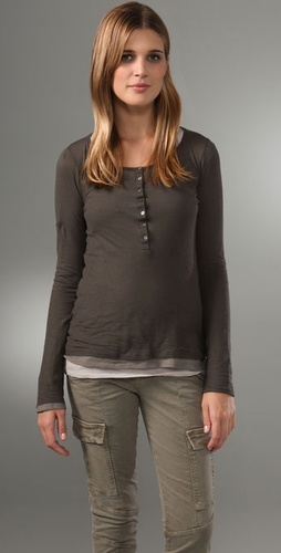Majestic Henley Triple Layer Top
