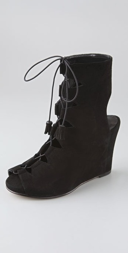 Opening Ceremony Open Toe Suede Booties