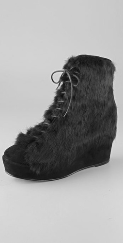 Opening Ceremony Rabbit Fur Wedge Booties